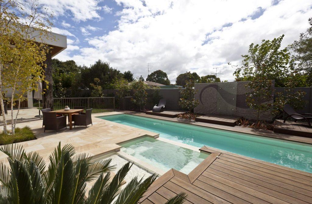 Bundaberg Lap pool Spa combo with timber deck